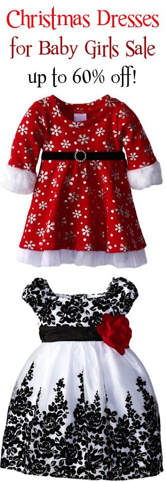 Christmas Dresses for Baby Girls Sale: up to 60% off! {grab your little girl a super cute dress for the holidays!} #babies #thefrugalgirls