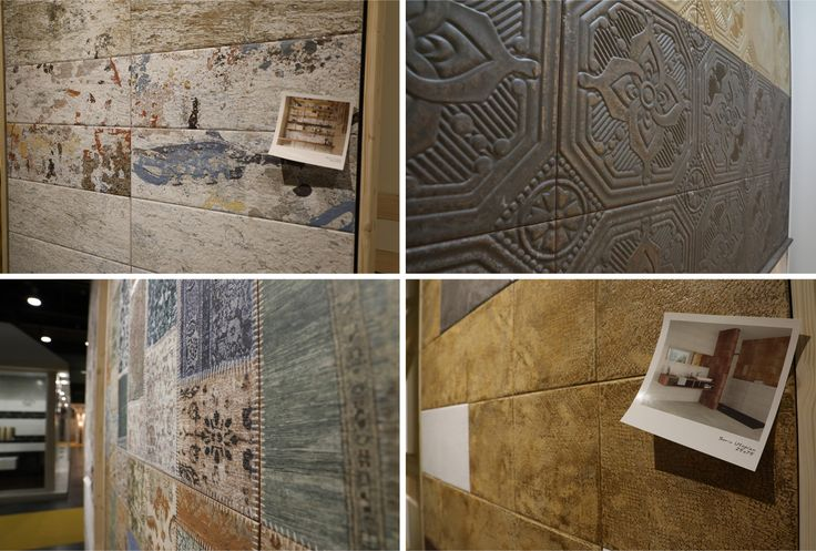 The Aparici-owned brand Veneto Ceramicas showcases Jewel — an extraordinary imitation of embossed metal. Altogether, there are about ten new arrivals by Veneto Ceramicas: Kosmos, Sky, Duero, Garden, Tahta, Utopian, just to name a few.