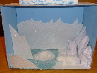 polar bear diarama | She used a piece of my scrapbook paper that looks like water for the ...