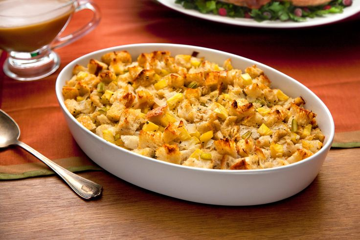 A traditional Thanksgiving stuffing.Game plan: This stuffing can be completely made ahead. Cool, cover, and refrigerate until ready to serve. Rewarm uncovered...