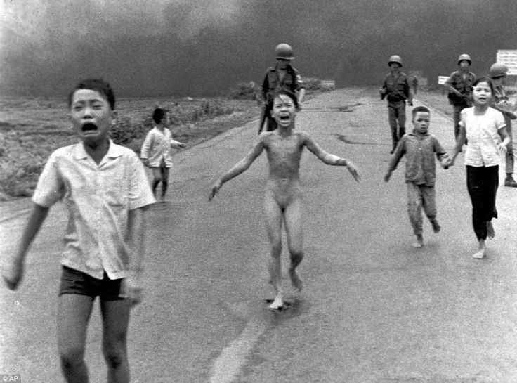 This photo, taken by Vietnamese-born war photographer Nick Ut in 1973, captured the face of a terrified nine-year-old girl seen running for her life after ripping off her burning clothes when a South Vietnamese plane accidentally dropped napalm on its own troops and civilians. The image horrified people around the world and some believe it hastened the end of the Vietnam War