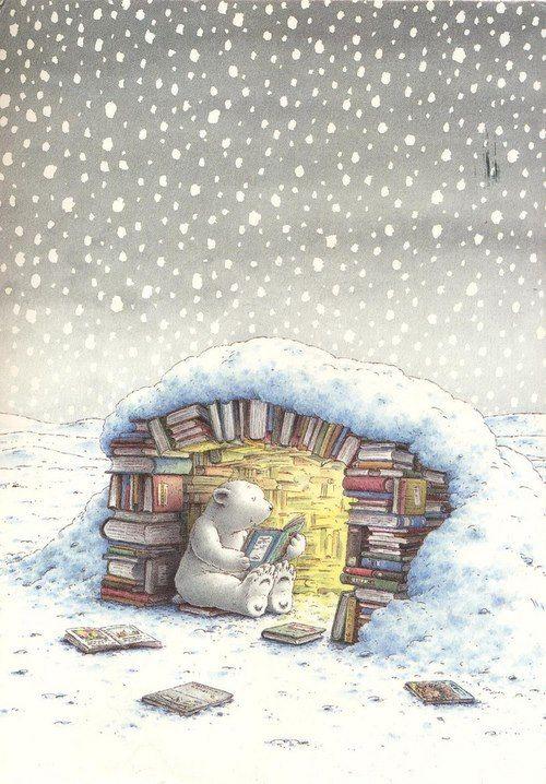 This bear does not hibernate this year, for sure, would rather read! /Este oso no hiberna este año, seguro, prefiere leer! (ilustración de Hans de Beer)