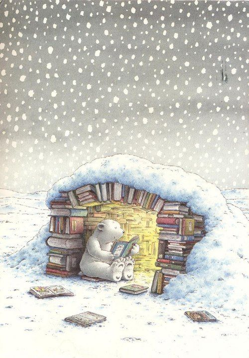 This bear does not hibernate this year, for sure, would rather read! /Este oso no hiberna este año, seguro, prefiere leer! (ilustración de Hans de Beer)