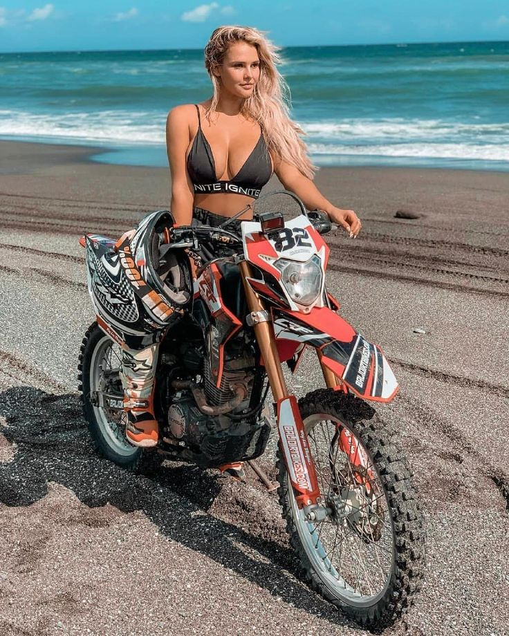 Naked girl dirt bike riding a motorcycle apologise