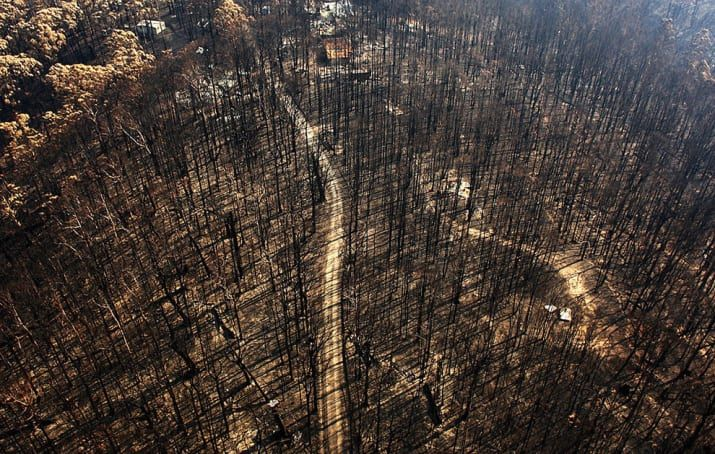 """""""The 2009 Black Saturday bushfires in Victoria were the most devastating in Australian history, and Australia's worst peacetime disaster. It was through aerial photography, including this one by Mark Dadswell, that Australians were able to grasp the sheer magnitude of the disaster."""""""