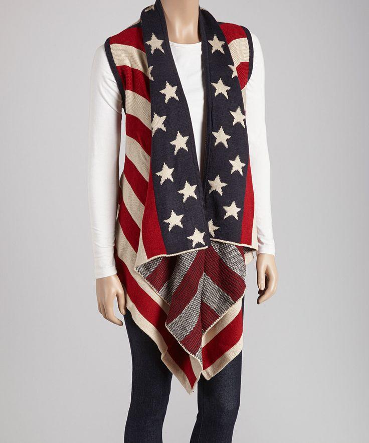 Women Stars Stripes USA Flag Blanket Style Vest Poncho Cardigan