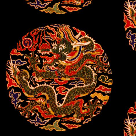 royal orange red novelty thrones embroidery asian japanese china chinese oriental cheongsam kimono dragon clouds fire sun imperial chinoiserie kings queens museum traditional rank regal korean kabuki geisha yuan ming qing dynasty tapestry vintage emperor  fabric by raveneve on Spoonflower - custom fabric
