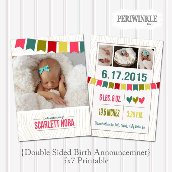 Darling double sided birth announcement lets you show off the sweet, new little lady in your life. All info. and pictures will be customized to