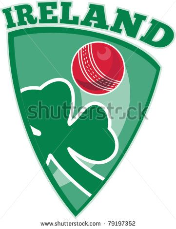 vector illustration of a cricket set inside shield with shamrock clover leaf isolated on white and words Ireland - stock vector #cricket #retro #illustration