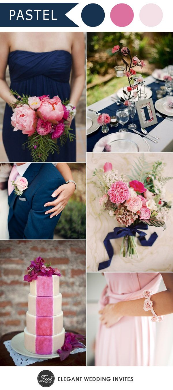 elegant and romantic pastel pink and navy wedding color inspiration