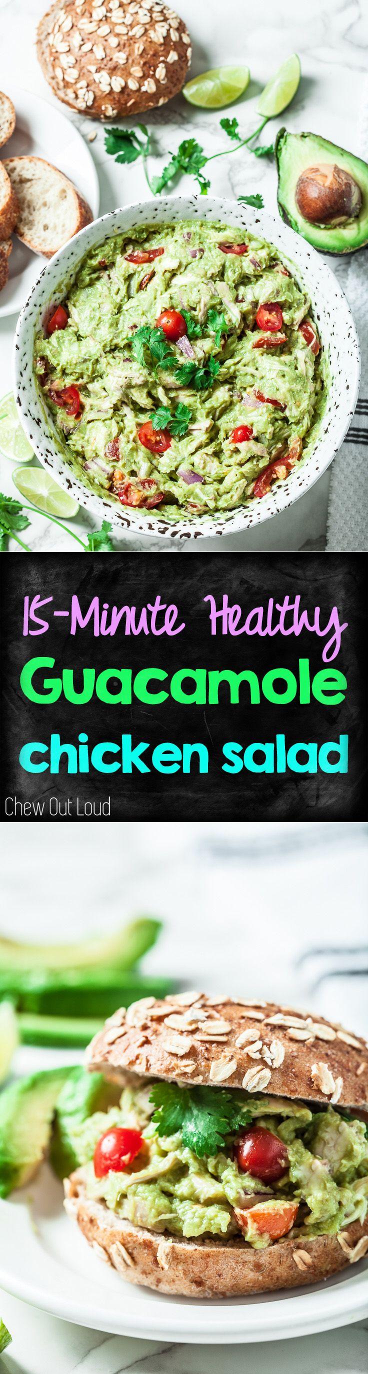 15-Minute Healthy Guacamole Chicken Salad. Great in sandwiches, pita pockets, baguette slices, or scoop chips! #guacamole #avocado #chicken #salad www.chewoutloud.com