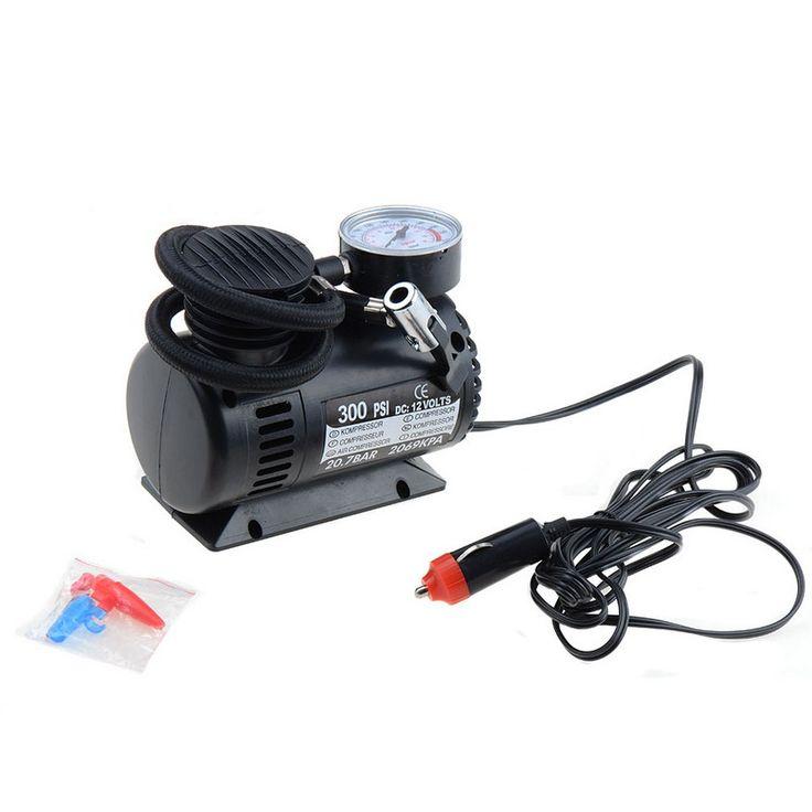 Black Mini 12V 300PSI Car Air Pump Tyre Compressor Portable Electric Car Air Pump Bike Type Air Inflator