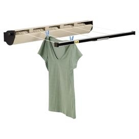 Indoor/outdoor retractable clothesline with tightening knob and five polyester lines.Product: Retractible clotheslineConstruction Material: Vinyl-coated polyesterColor: Natural  Features:  Tightening knob keeps lines taut and tangle-free170 Total usable line Dimensions: 8.25 H x 38 W x 7 D