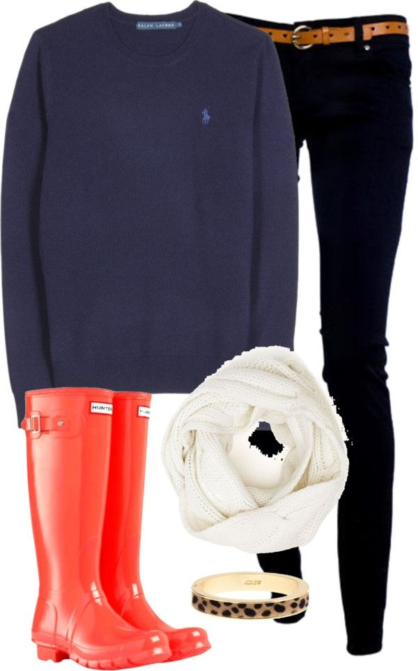 polo sweatshirt and hunter boots :)