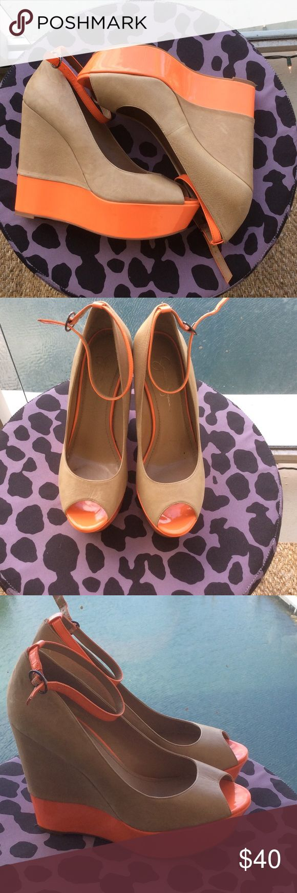 ✨Jessica Simpson Wedges✨ Neutral wedges with a pop of orange color! These shoes are in excellent condition and have only been worn once! Jessica Simpson Shoes Wedges