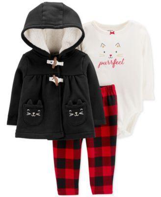 ce31c090def Baby Girls 3-Pc. Purrfect Fleece Jacket