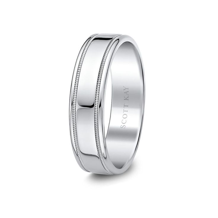 14kt white gold mens milgrain high polish wedding band from the classic collection by scott kay