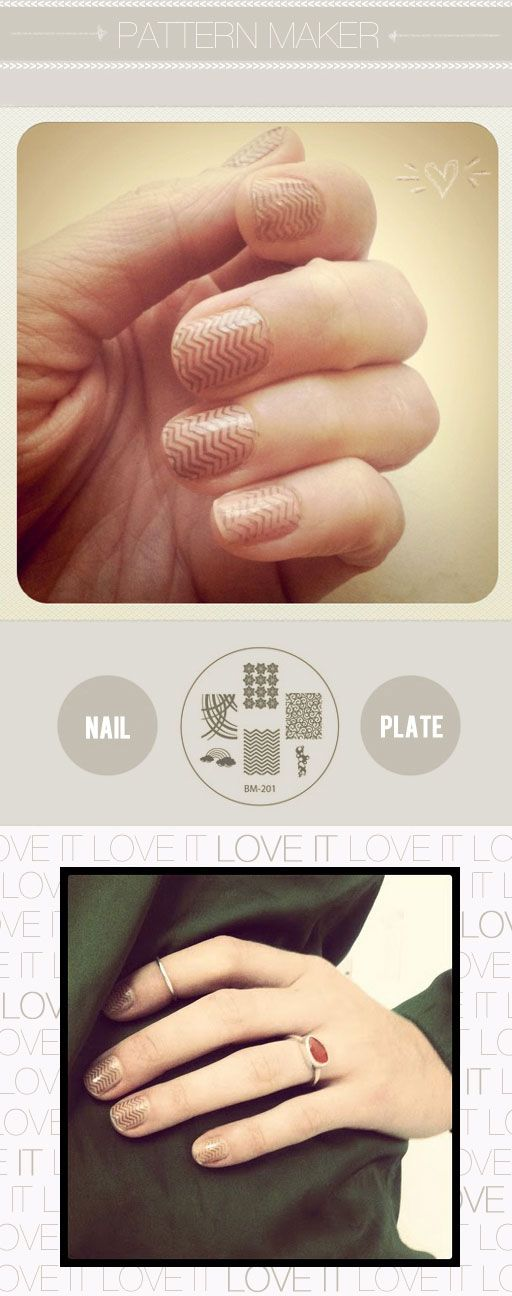 chevron nails with Bundle Monster Plate 201 BM stamping