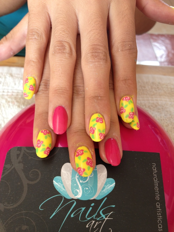 #nails art #acrylic nails #summer    luv the  flowers