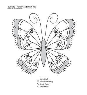 Stem Stitch Butterfly Pattern: Stem Stitch Butterfly Pattern
