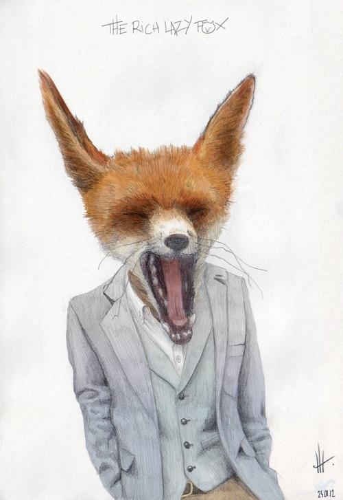The rich lazy fox. Artist unknown.