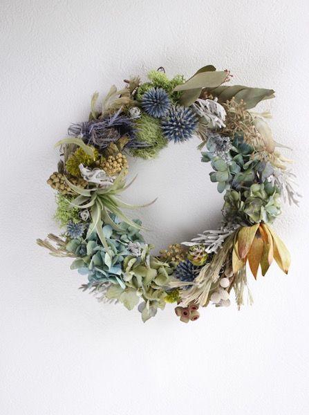 リューカデンドロンとエアープランツのリース - ドライフラワーリース/ウェルカムボード/ ウェルカムリースプリザーブドフラワー| Dried Flower…