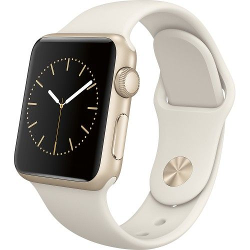Apple - Apple Watch Sport 38mm Gold Aluminum Case - Antique White Sport Band - Angle Zoom