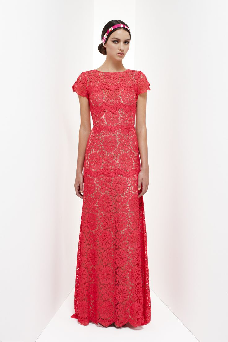 Resort 2013 – Collette DinniganCollette Dinnigan lace long gown, flamingo pink a
