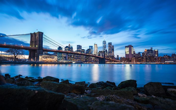 Download wallpapers Brooklyn Bridge, 4k, New York, nightscapes, skyscrapers, NYC, America, USA