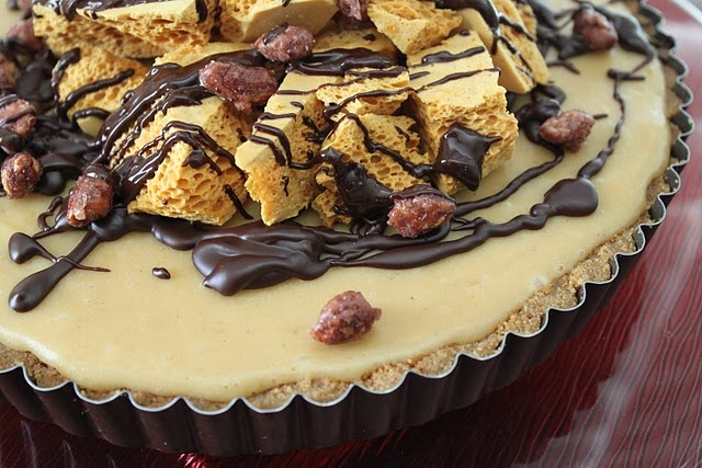 Peanut Butter Honeycomb Pie with Chocolate Ganache and Candied Peanuts