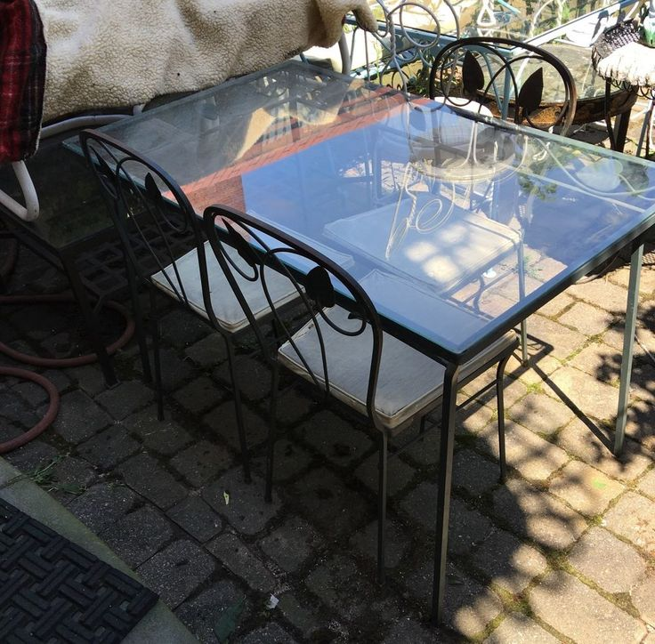 Aladdin Wrought Iron Glass Table 3 Chairs Vintage Vintage Brooklyn NY USA |  EBay