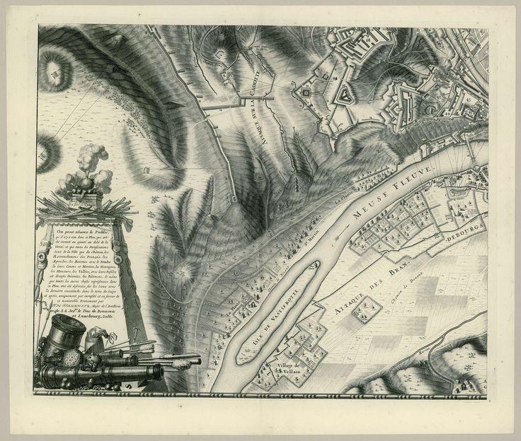 Gilliam van der Gouwen | Grote kaart van het beleg van Namen (blad nr. 3), 1695, Gilliam van der Gouwen, Daniël Stopendaal, Nicolaes Visscher (II), 1695 | Grote ongemonteerde kaart van het beleg van Namen door de geallieerden onder koning Willem III tijdens de maanden juli-september 1695. De kaart is opgebouwd uit vier losse genummerde voorstellingen en twee bladen met het onderschrift. Dit blad (nr. 3) is het deel linksonder. Onderaan een monument en trofee opgebouwd uit kanonnen en andere…