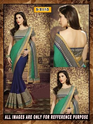 blue ambroidery georgette  party wear saree with blouse Sarees on Shimply.com