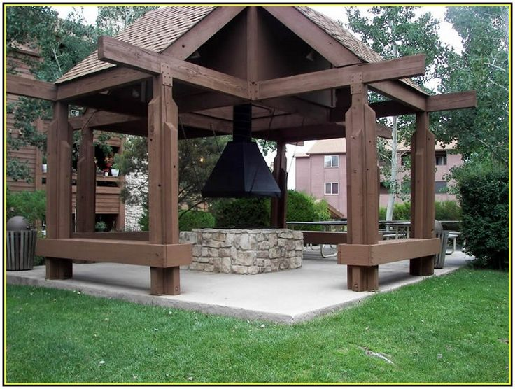 Elegant Classic Outdoor Gazebo Design With Fire Pit Idea