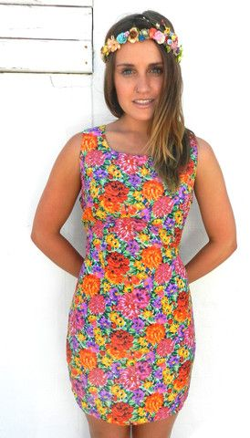 Floral Disco Dress   BOSTLTD #flowercrown