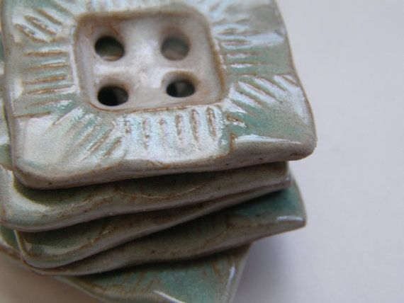 aqua rectangle ceramic buttons by sheppardhandmade on Etsy