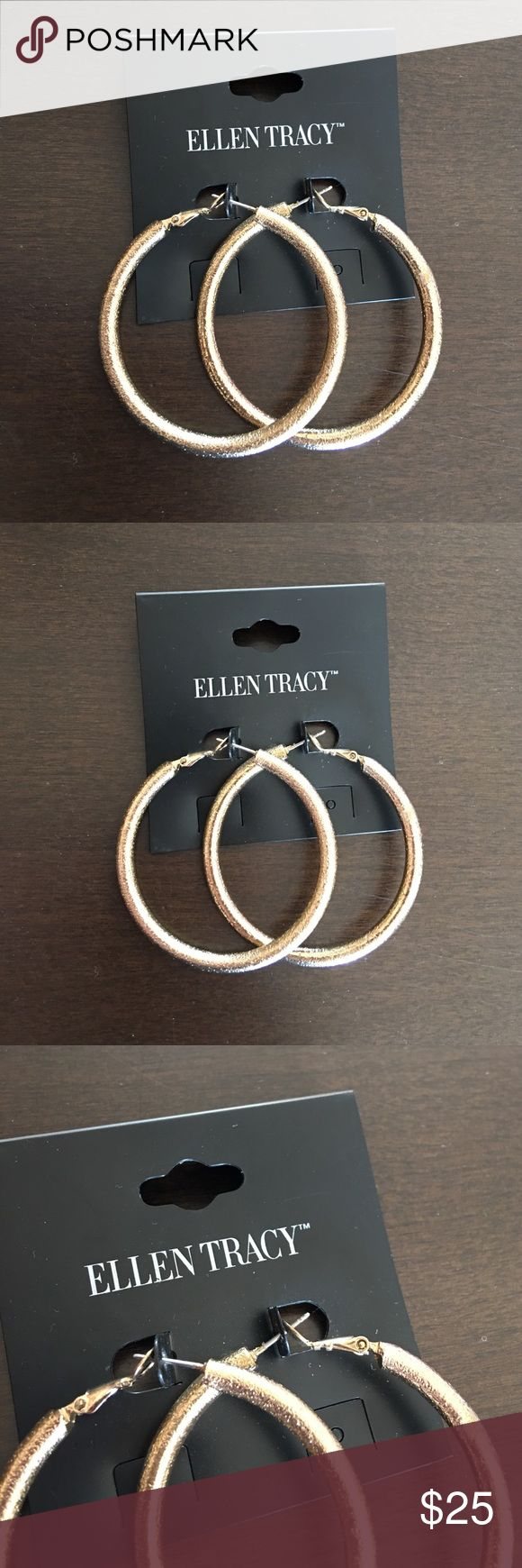 Ellen Tracy Hoops Thick and heavy. Not too big and not too small, just perfect. Ellen Tracy Jewelry Earrings