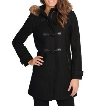 Tommy Hilfiger Women's Black Wool Hooded Duffle Coat. SHOP IT NOW