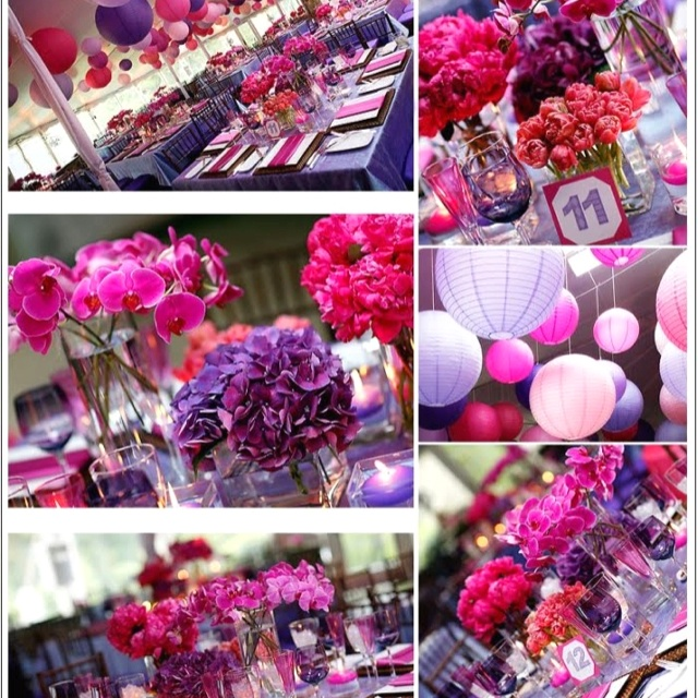 Pink and purple wedding <3 LOVE the different groupings of vases with different kinds of flowers. The circle lights could work for outside in the patio area.