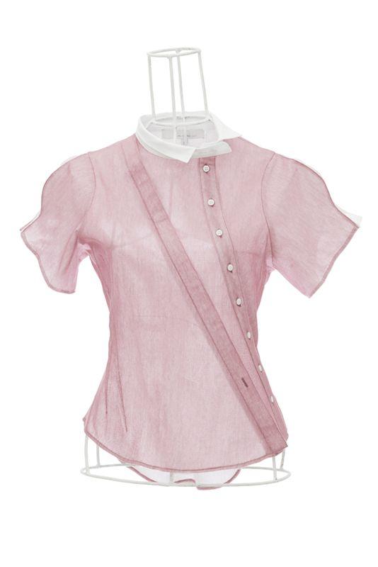 Chemise à manche courte en coton et tulle mauve AGUETTI Ken Okada http://shop.ken-okada.com/fr/8-okada-l-art