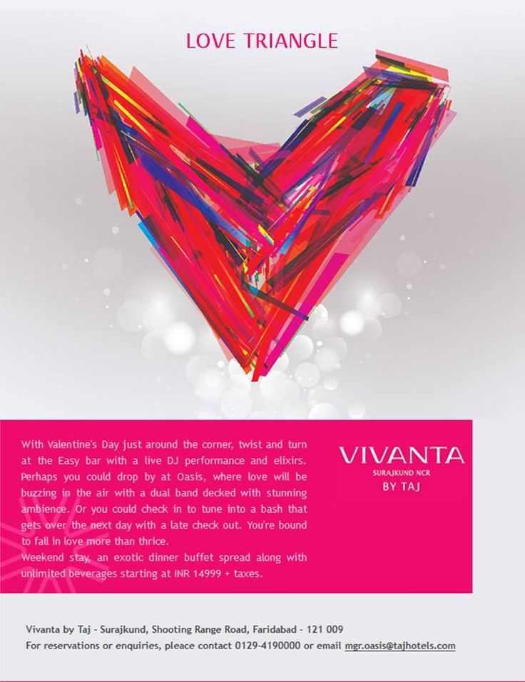 #Day14 1 day, 2 hearts, 3 Perks! That's what we call a Love Triangle at Vivanta by Taj - Surajkund this Valentine's Day.  #Love #Romance #Date #Couple #ValentinesDay