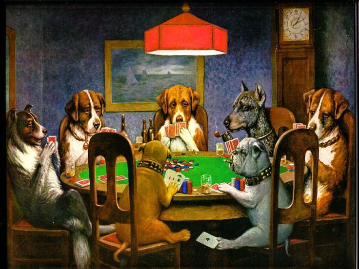Dogs Playing Poker  Commissioned by Brown & Begelow Cigars in 1903, American painter C.M. Coolidge painted 16 unforgettable images of Dogs Playing Poker for the brand. Spoofed many times in greeting cards and in popular culture, this series of dogs playing cards around a table is widely recognizable and truly iconic.
