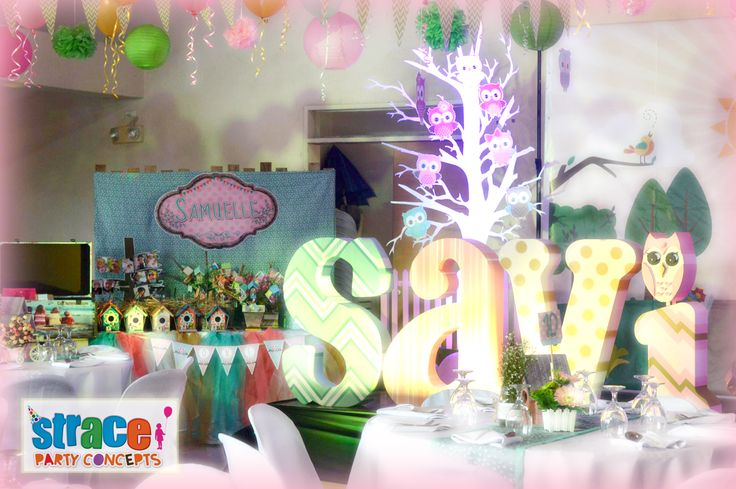 Owl Party Set-up by Strace Party Concepts