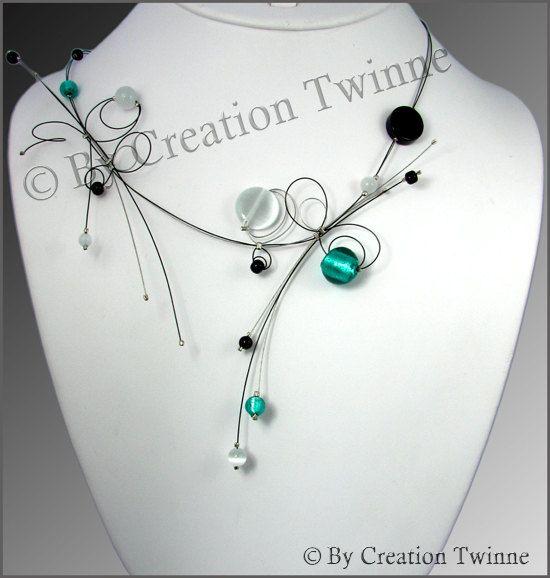 turquoise, black, glass, onyx, necklace, bridesmaids necklace, bridesmaids gifts, delicate necklace, nature jewelry