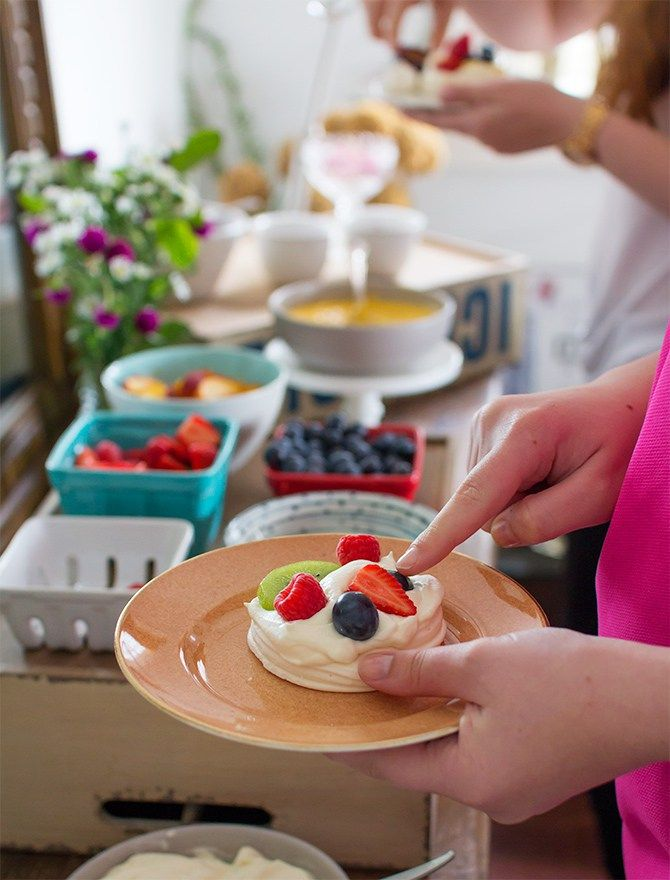DIY Pavlova Bar for Australia Day. Great for stress-free entertaining. Just set out your favourite fruit and toppings and let your guests customise their own mini pavlova | spicyicecream
