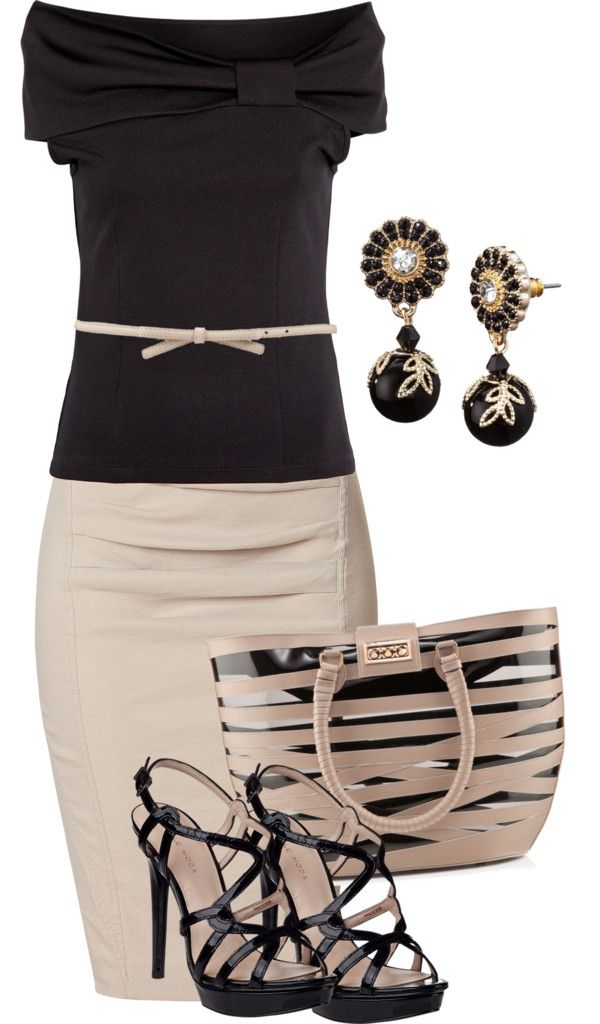 """Beige Pencil skirt and black off the shoulder top"" by missyalexandra ❤ liked on Polyvore"