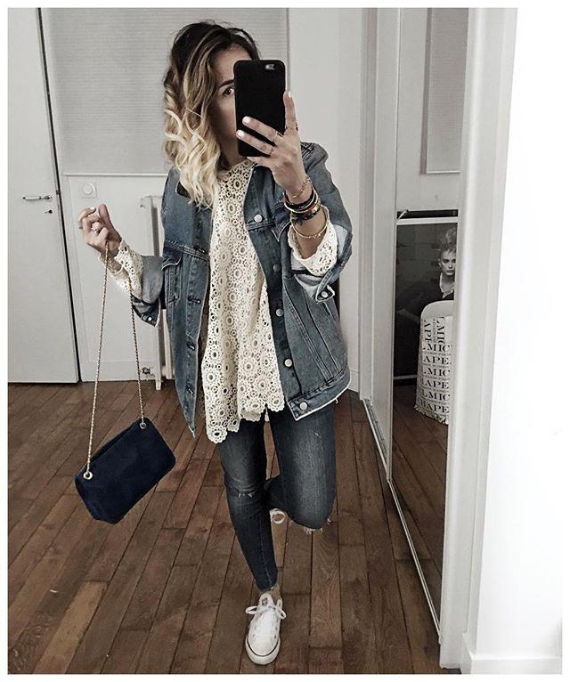 WEBSTA @ audreylombard - La tenue jean et dentelle en entier! J'ai mis tous les liens directs ainsi qu'une petite photo de la veste montrée ce matin sur  sur audreylbd.com!#kuregirls @cyrielleforkure #aninebing #aninebingparis #stellaforest #sezane