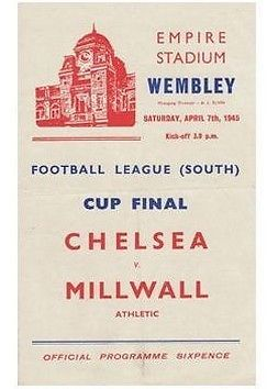 CHELSEA V MILLWALL 1945 FOOTBALL PROGRAMME: WARTIME CUP FINAL | eBay