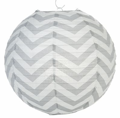 "14"" Gray Chevron Paper Lantern, Even Ribbing, Hanging (Light Not Included)"