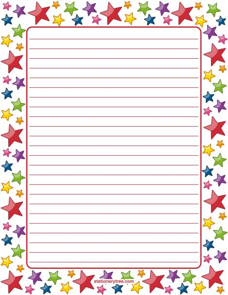 Printable star stationery and writing paper. Multiple versions available with or without lines. Free PDF downloads at http://stationerytree.com/download/star-stationery/